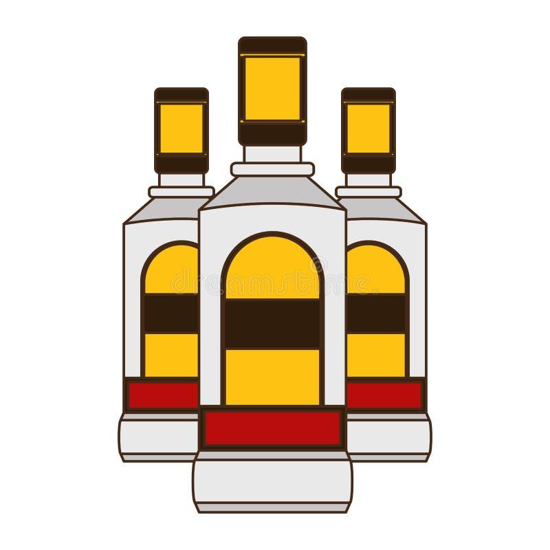 Liquore delle bottiglie di tequila illustrazione vettoriale