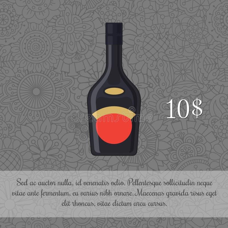 Liquore in modello nero della carta della bottiglia illustrazione vettoriale