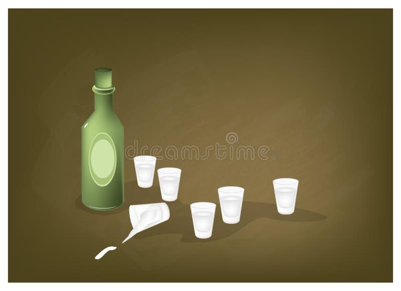 Liquore tradizionale coreano del riso su una lavagna illustrazione di stock