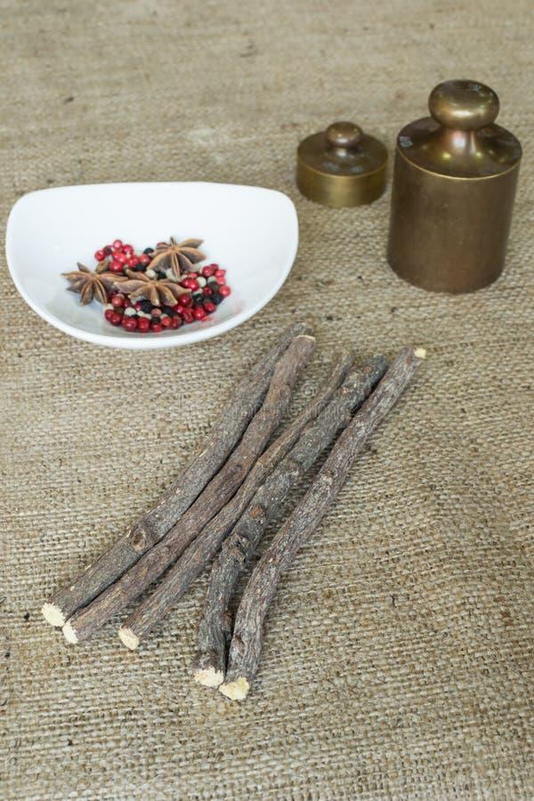 Liquorice root sticks stock image
