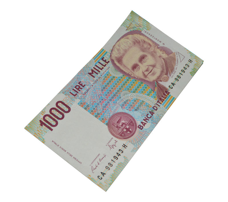 1000 lirów starej włoskiej banknot waluty obrazy stock