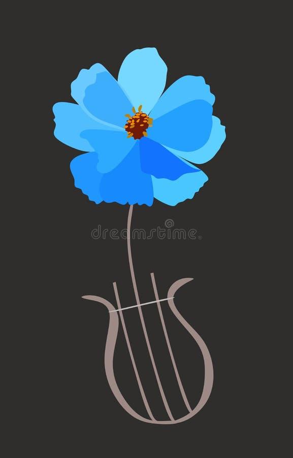 Lira en forma de la flor azul del cosmos aislada en fondo negro en vector Tarjeta vertical, cartel, logotipo musical en estilo de libre illustration