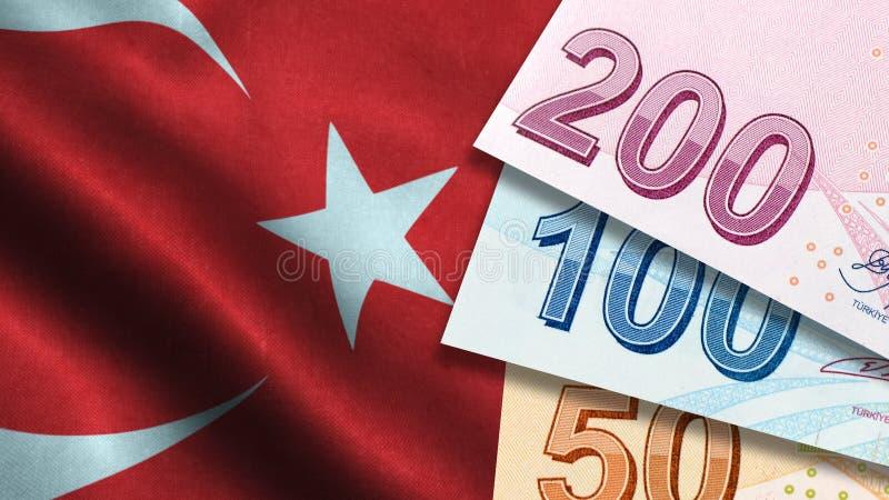 Lira turca con la bandera turca imagen de archivo libre de regalías