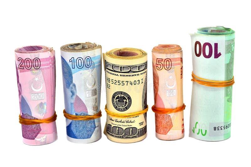 Lira turca y dólar aislados fotos de archivo