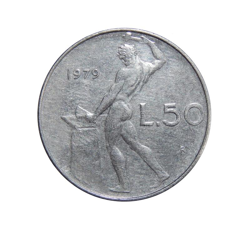 50 liras de moeda Italia fotografia de stock royalty free
