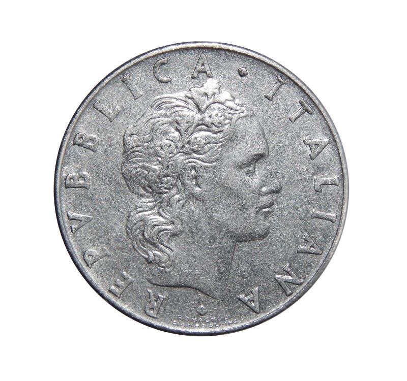 50 lire mynt Italien royaltyfri foto