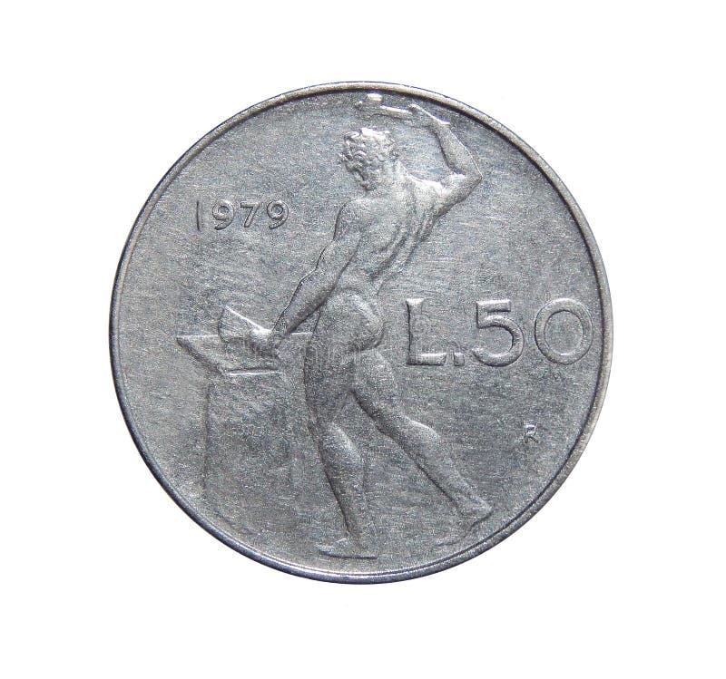 50 Lires de pièce de monnaie Italie photographie stock libre de droits