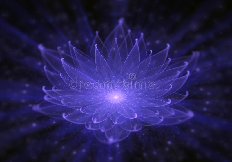 Lirio de agua, Lotus azul radiante con los rayos de la luz ilustración del vector