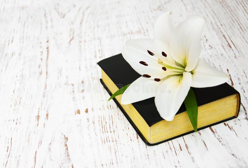 Lirio y biblia de pascua imágenes de archivo libres de regalías