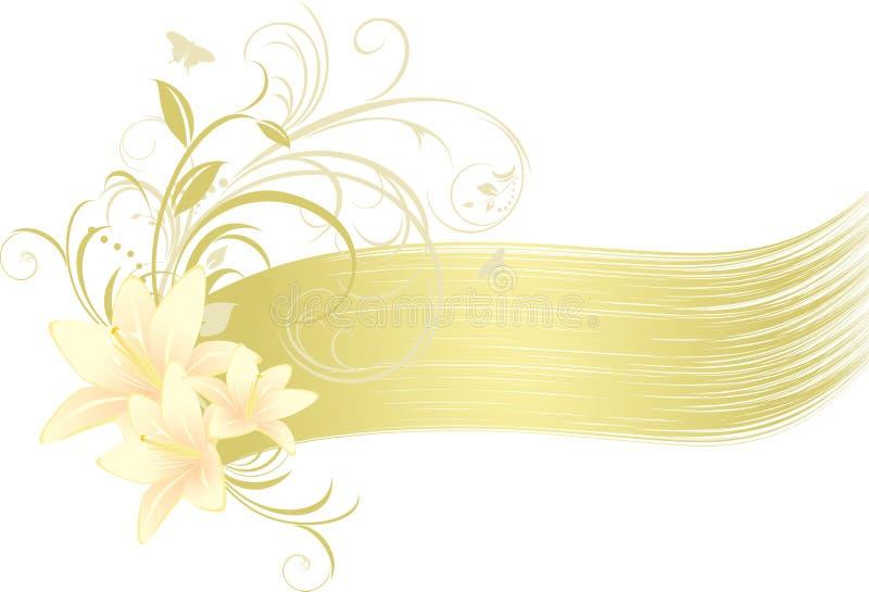 Lirios con el ornamento floral ilustración del vector