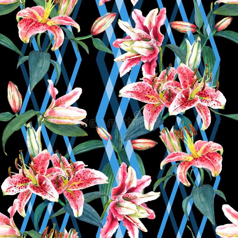 Lirios inconsútiles del estampado de flores libre illustration