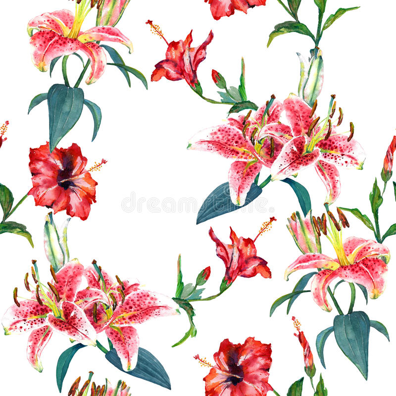 Lirios inconsútiles del estampado de flores stock de ilustración