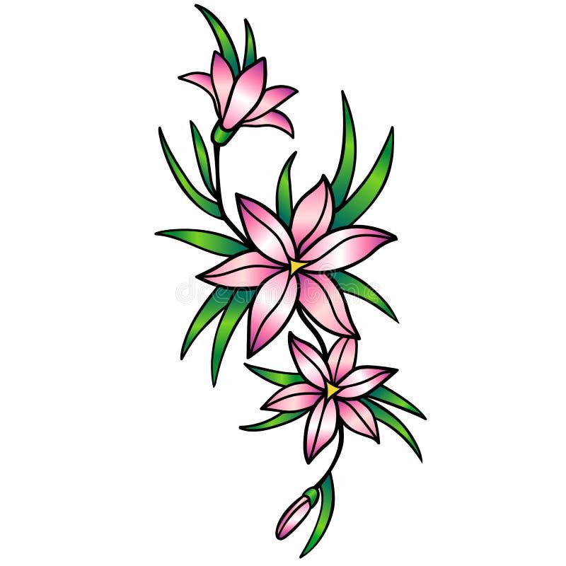 Lirios rosados stylization Lirios, flores con las hojas Dibujo lineal con una pendiente ilustración del vector