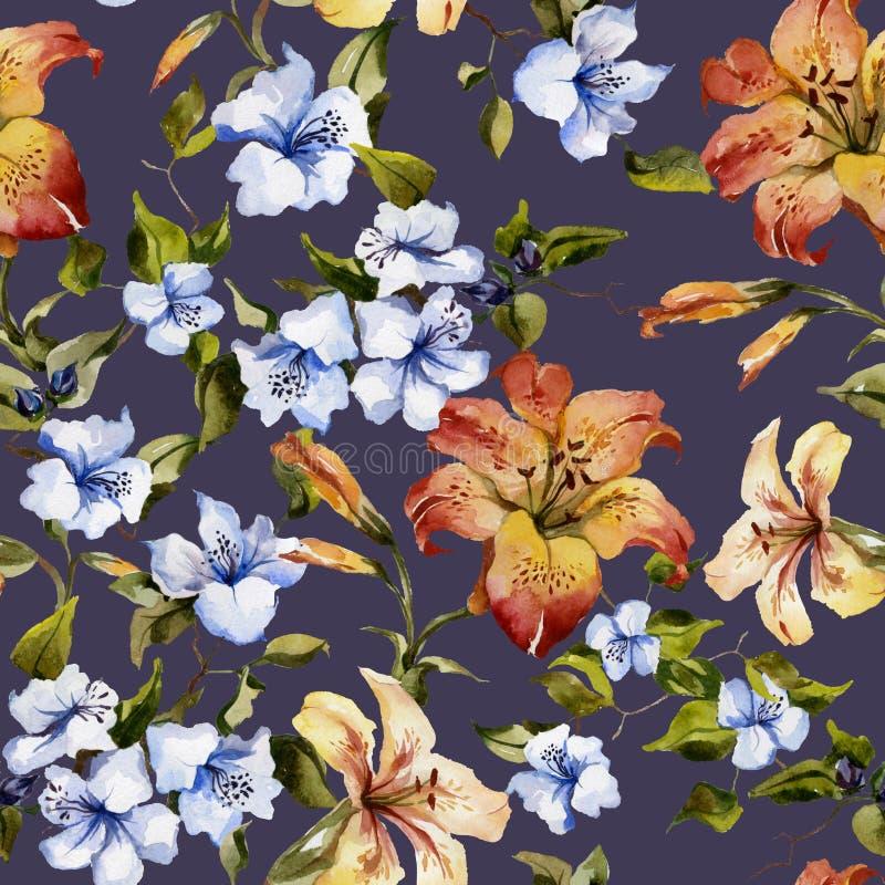 Lirios tigrados hermosos y pequeñas flores azules en las ramitas en fondo de color morado oscuro Modelo floral inconsútil Pintura stock de ilustración