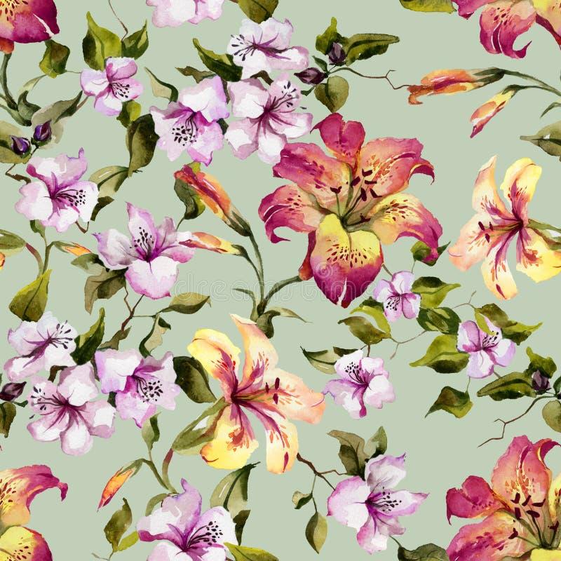 Lirios tigrados hermosos y pequeñas flores púrpuras en las ramitas contra fondo verde claro Modelo floral inconsútil ilustración del vector