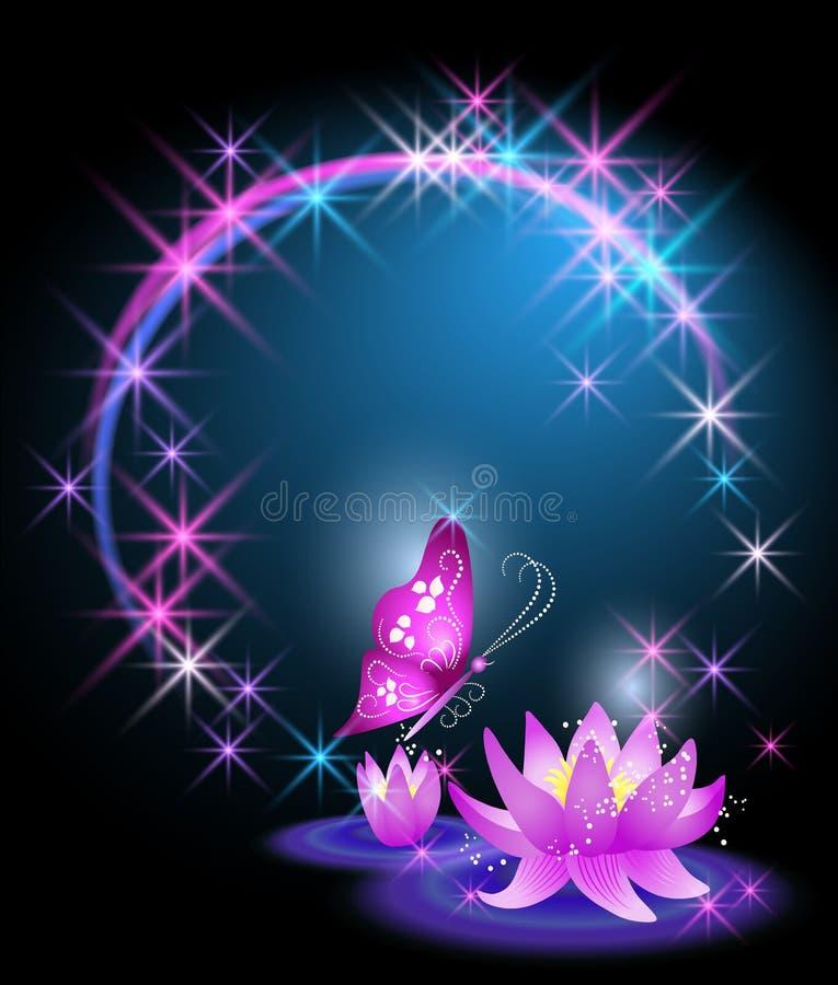 Lirios y mariposa ilustración del vector