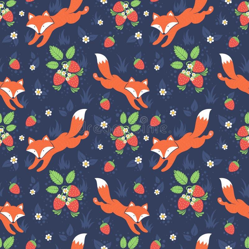 Lisów i dzikich truskawek bezszwowy wzór royalty ilustracja