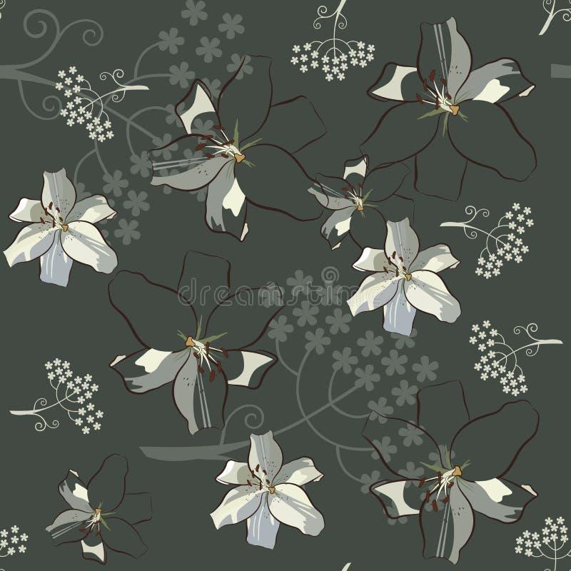 Lis blancs et fleurs de parapluie sur le modèle sans couture de fond vert poussiéreux foncé illustration stock
