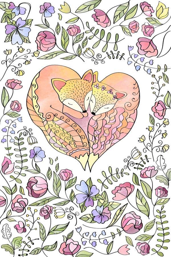 Lis miłości kierowej akwareli handmade kartka z pozdrowieniami obraz royalty free