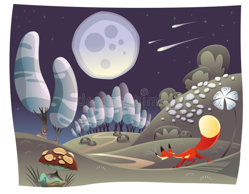 lis noc ilustracji