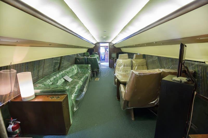 Lisa Marie Airplane Main Cabin Area de Elvis Presley interno imagens de stock royalty free