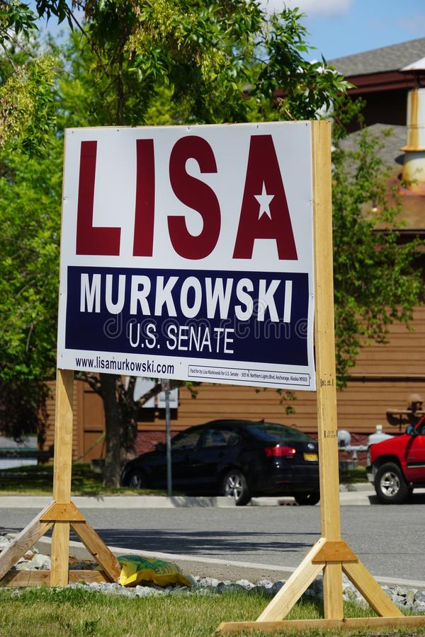 A Lisa Murkowski for US Senate sign. ANCHORAGE, AK -A Lisa Murkowski for Senate sign on the street in Alaska. A Republican, Murkowski is the senior senator from royalty free stock photography
