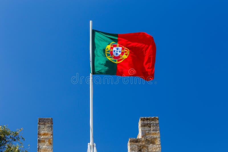 lisboa A bandeira portuguesa imagem de stock royalty free