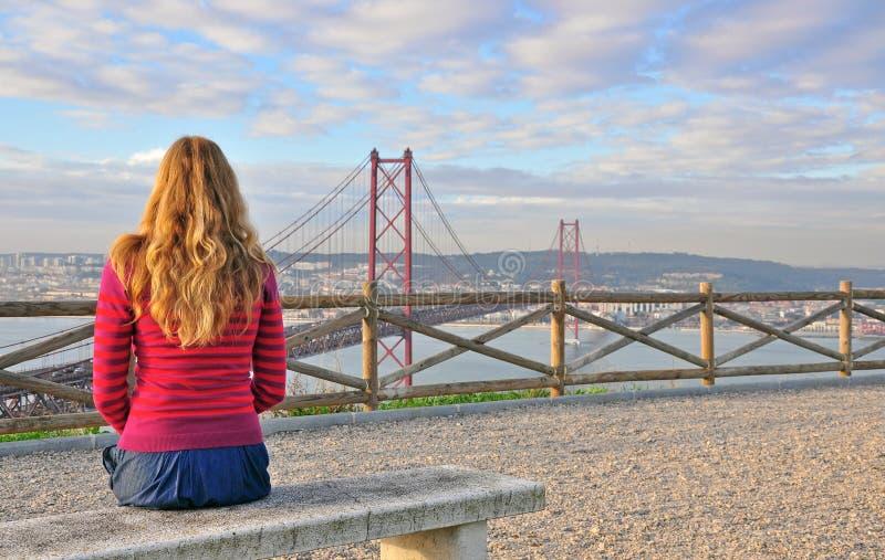 Lisboa grande de observación, Portugal imagen de archivo libre de regalías
