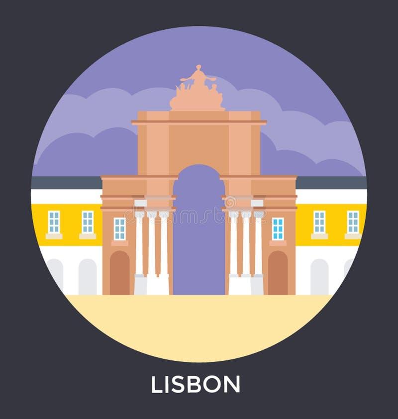Lisboa, Portugal, ícone do vetor ilustração do vetor