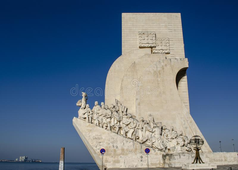 Monument to the discoverers in Lisbon. Lisboa, Portugal August 2013: Monument to the Discoveries is a monument on the northern bank of the Tagus River estuary royalty free stock photos