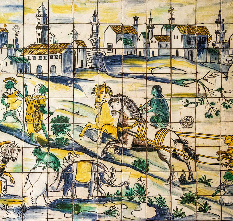 Lisboa, Portugal - baldosa cerámica antigua, museo Azulejo imagen de archivo