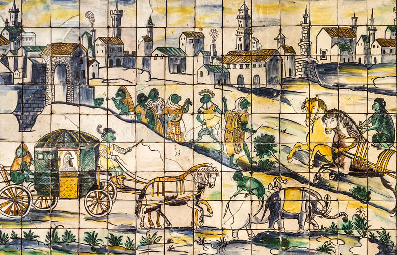 Lisboa, Portugal, baldosa cerámica antigua, museo Azulejo foto de archivo