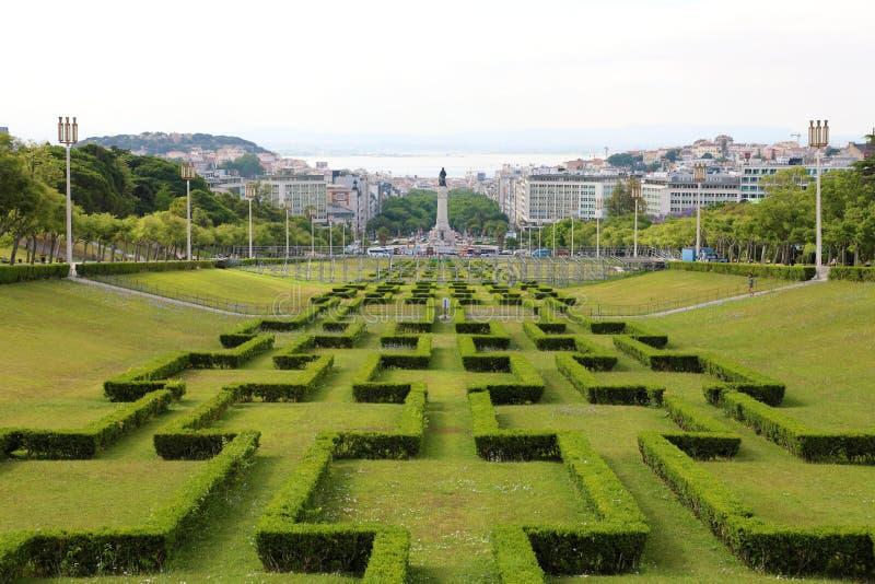 LISBOA, PORTUGAL - 25 DE JUNHO DE 2018: vista bonita do parque de Eduardo VII, Lisboa, Portugal fotografia de stock
