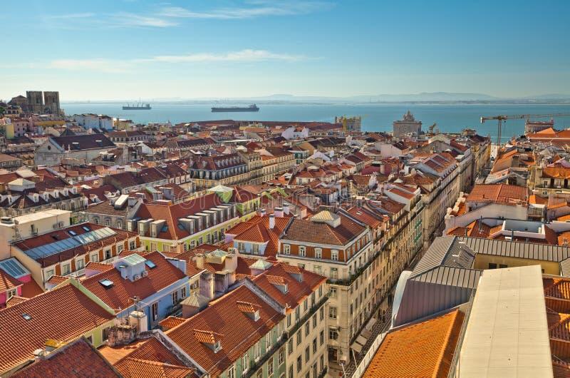 Lisboa, Portugal No alvorecer Viewof panorâmico a cidade 'do †da parte superior fotos de stock