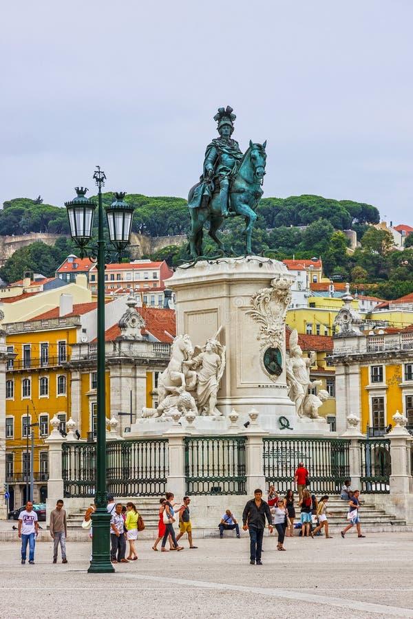 Lisboa, Portugal O quadrado do comércio, Praca faz Comercio ou Terreiro foto de stock