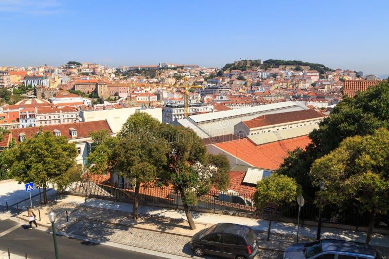 Lisboa y São Jorge Castle foto de archivo libre de regalías