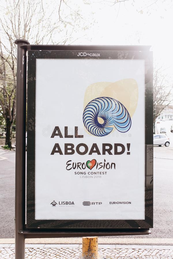 Lisbon, April 24, 2018: Photo of the image with official Eurovision symbols Eurovision Song Contest 2018 Lisbon. A. Poster on the city street royalty free stock photos