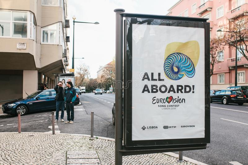 Lisbon, April 24, 2018: Photo of the image with official Eurovision symbols Eurovision Song Contest 2018 Lisbon. A. Poster on the city street stock photography
