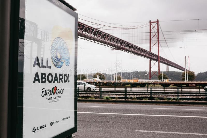 Lisbon, April 24, 2018: Photo of the image with official Eurovision symbols Eurovision Song Contest 2018 Lisbon. A. Poster on the city street stock photo