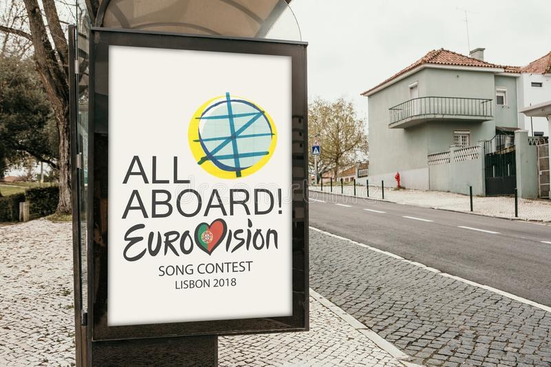 Lisbon, April 24, 2018: Photo of the image with official Eurovision symbols Eurovision Song Contest 2018 Lisbon. A. Poster on the city street stock image