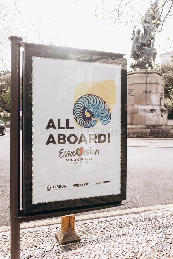 Lisbon, April 24, 2018: Photo of the image with official Eurovision symbols Eurovision Song Contest 2018 Lisbon. A. Poster on the city street royalty free stock images