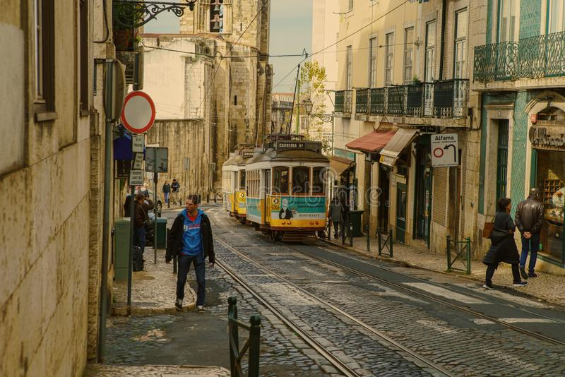 Traditional tram carriage in the city centre of Lisbon royalty free stock photo