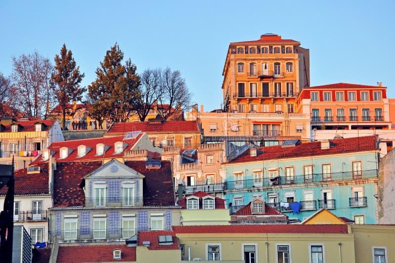 Download Lisbon baixa on sunset stock image. Image of libson, multicolor - 31954127
