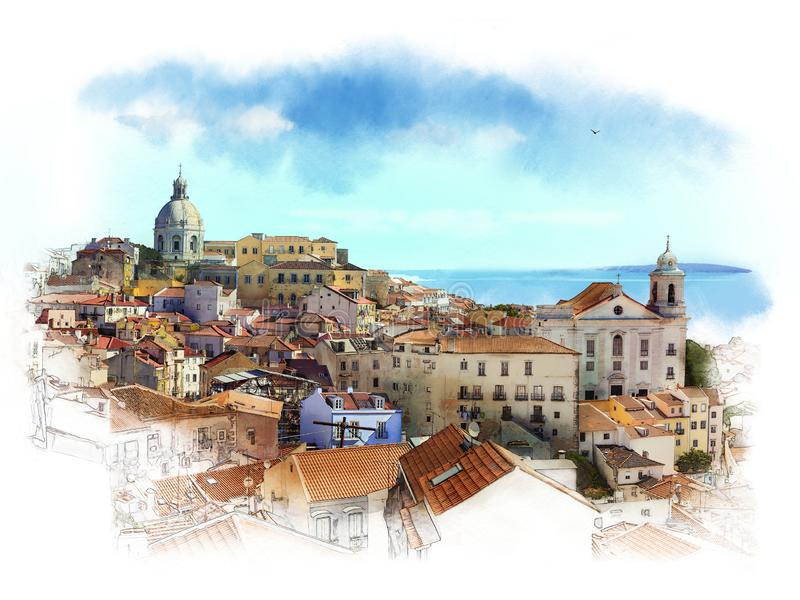 Panorama Of Lisbon, Portugal. Watercolor sketch. Lisbon is the capital and the largest city of Portugal, with an estimated population of 505,526 within its royalty free illustration