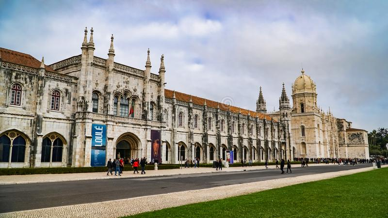 LISBON, circa 2017: Jeronimos Monastery or Hieronymites Monastery. Lisbon is continental Europe`s westernmost capital city and th royalty free stock image