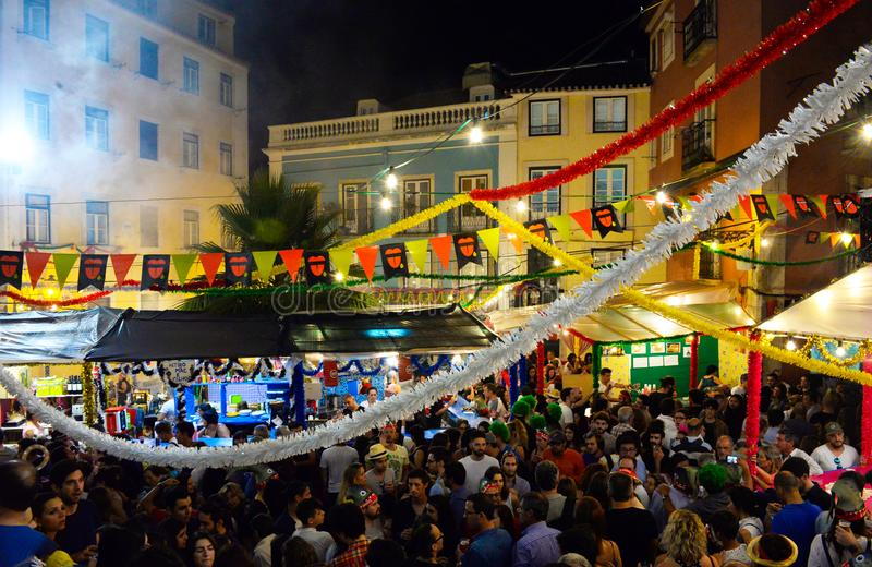 Lisbon, City Summer Popular Festivities, Travel Portugal, Upper Old Town royalty free stock images