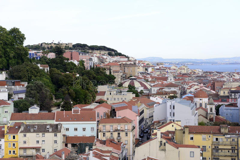 Lisbon Cityscape - Castle, Cathedral and Red Rooftops stock photo