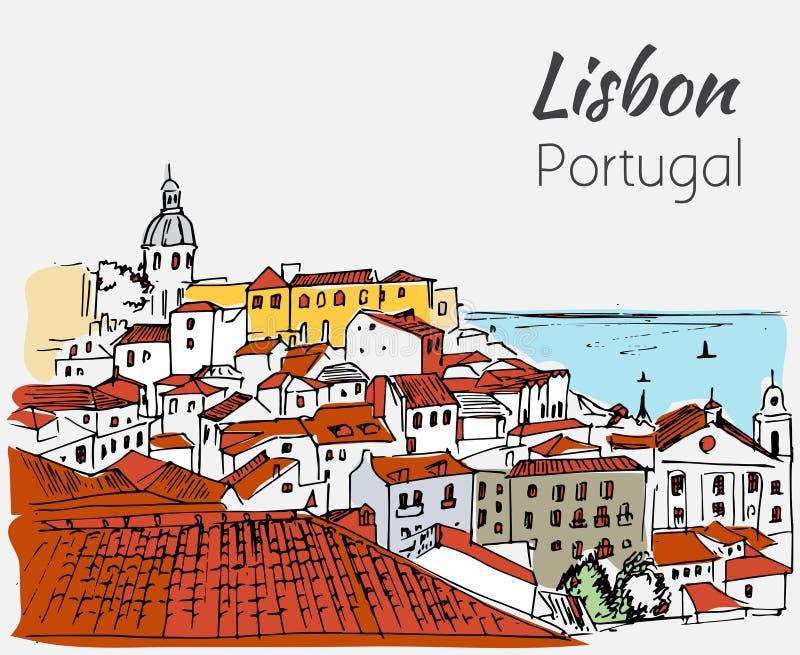Lisbon cityscape - hand drawn sketch. On white background stock illustration