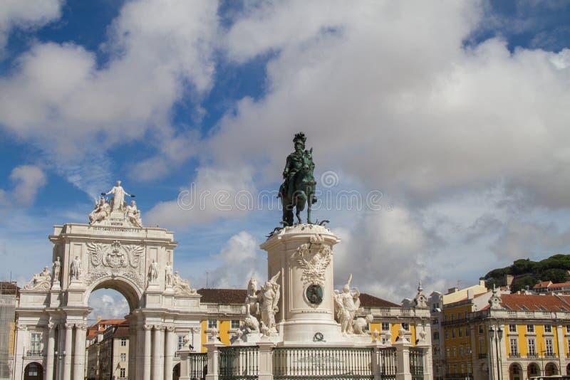 Lisbon Commerce Square. (Praça do Comércio) with statue of King José I royalty free stock photos