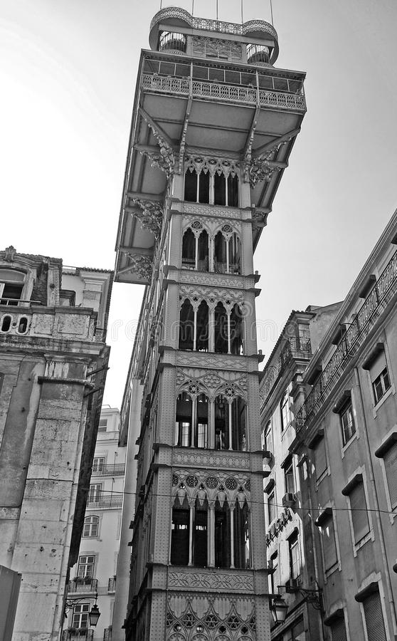 Lisbon elevador de Santa Justa, Baixa Portugal. Famous gothic iron tower of the Santa Justa Lift in the Baxia district, Lisbon, Portugal. Black and white image royalty free stock photos